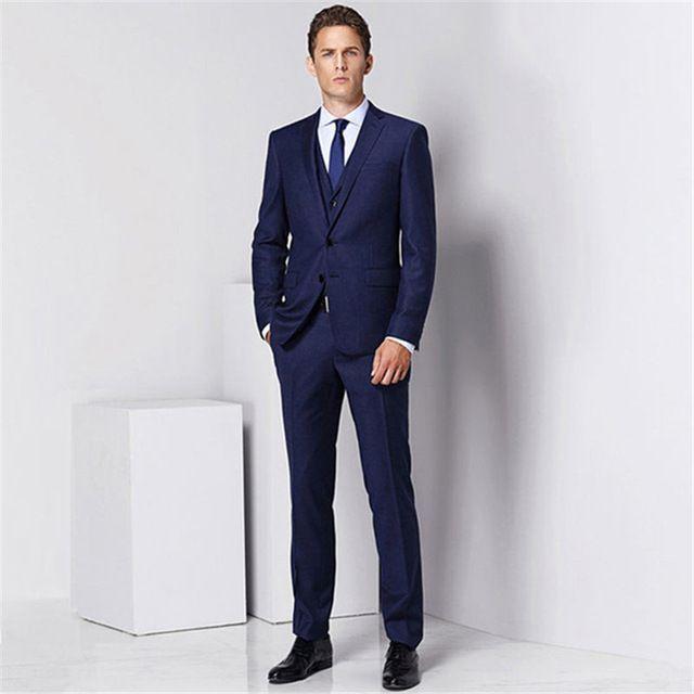 a030a83b54f Hot-selling navy blue men s suit (clothes + pants) for men s wedding best  man new Lang dress casual suit