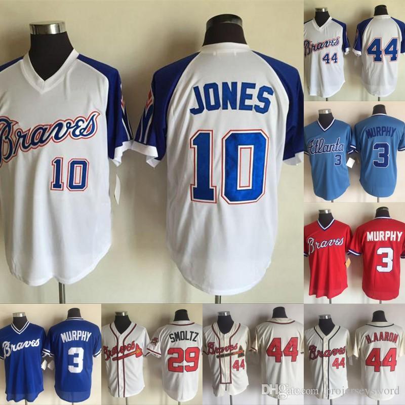 lowest price 7e2c1 87e6e Atlanta Jersey Mens 1 Ozzie Albies 3 Dale Murphy 13 Ronald Acuna Jr. 10  Chipper Jones 29 John Smoltz 44 Hank Aaron Braves Baseball Jerseys