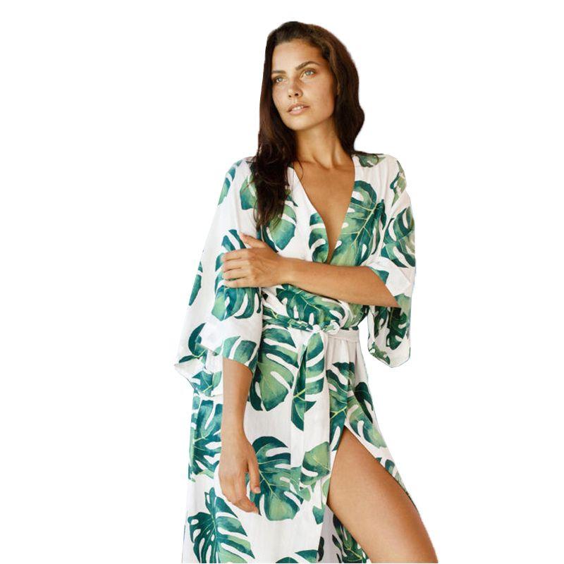 f8e4b8af7e 2019 2019 Pareo Beach Cover Up Tropical Leaves Print Bikini Swimwear Women  Robe De Plage Beach Cardigan Summer Cover Ups From Naixing, $25.07 |  DHgate.Com