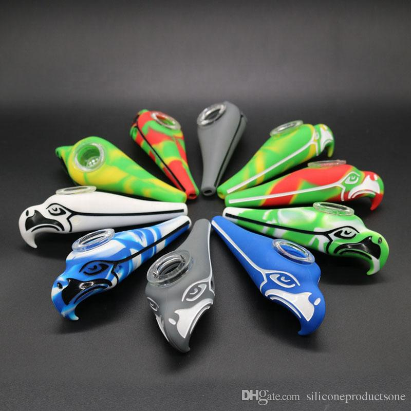 Eagle Seattle Seahawks Silicone Pipe Glass Bowl Cap Free Hand Pipe Bubbler Dab Water Pipes Smoke Accessories