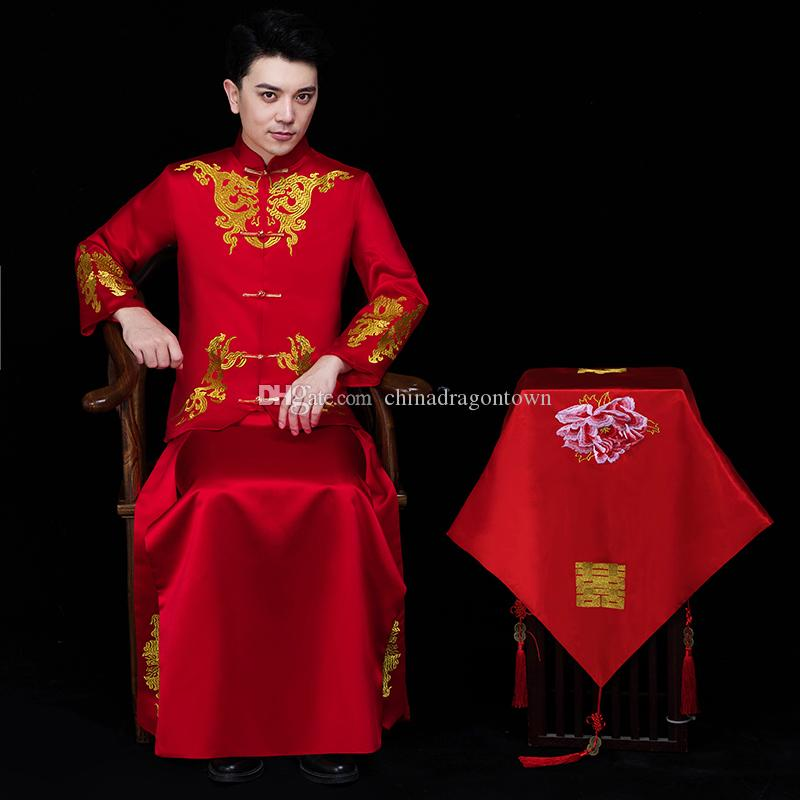 e9aa56868 Chinese Traditional red Wedding vestido Vintage Groom Cheongsam male hanfu  Embroidery Oriental stand collar ethnic clothing men's tang suit