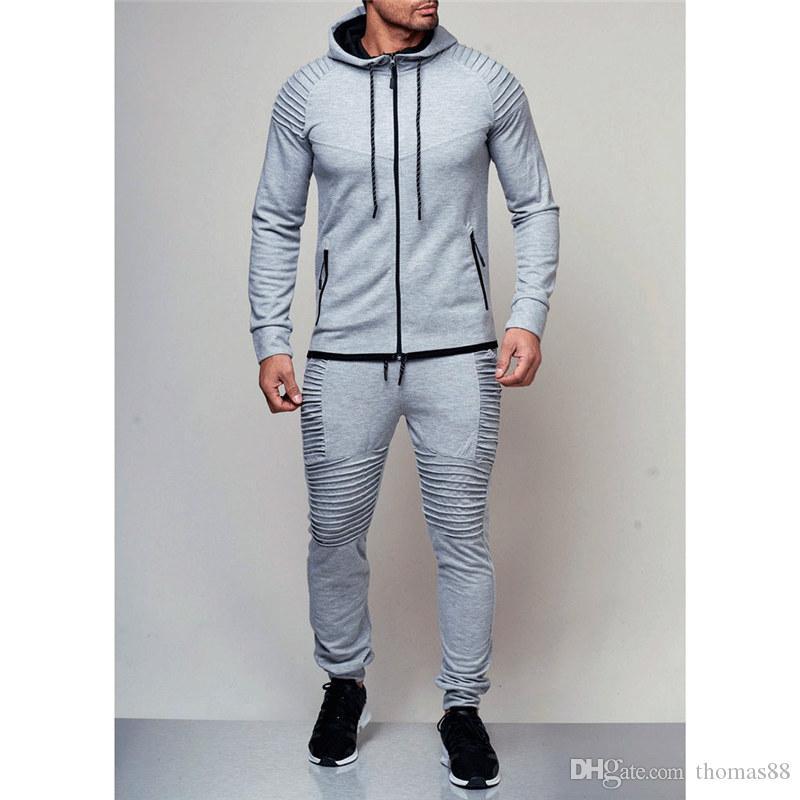 fc429c09c16e Men s Hoodies Tracksuit Set Male Zipper Pleated Sweatshirt ...