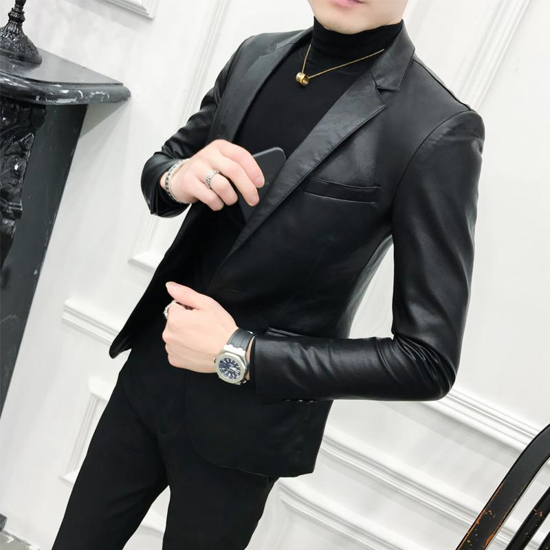 Solid Black Slim Fit Blazer Hombre Pu Leather Jacket Men One Button Business Casual Prom Blazers For Men Korean Suit Coat J190422