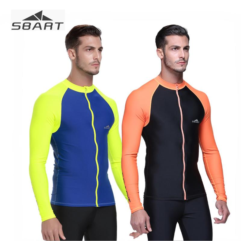 2019 Sbart Mens Lycra Swimming Shirt Front Zip Long Sleeve Diving Suit Light Thin Breathable Sunscreen Rash Guard for Surfing Snorkel