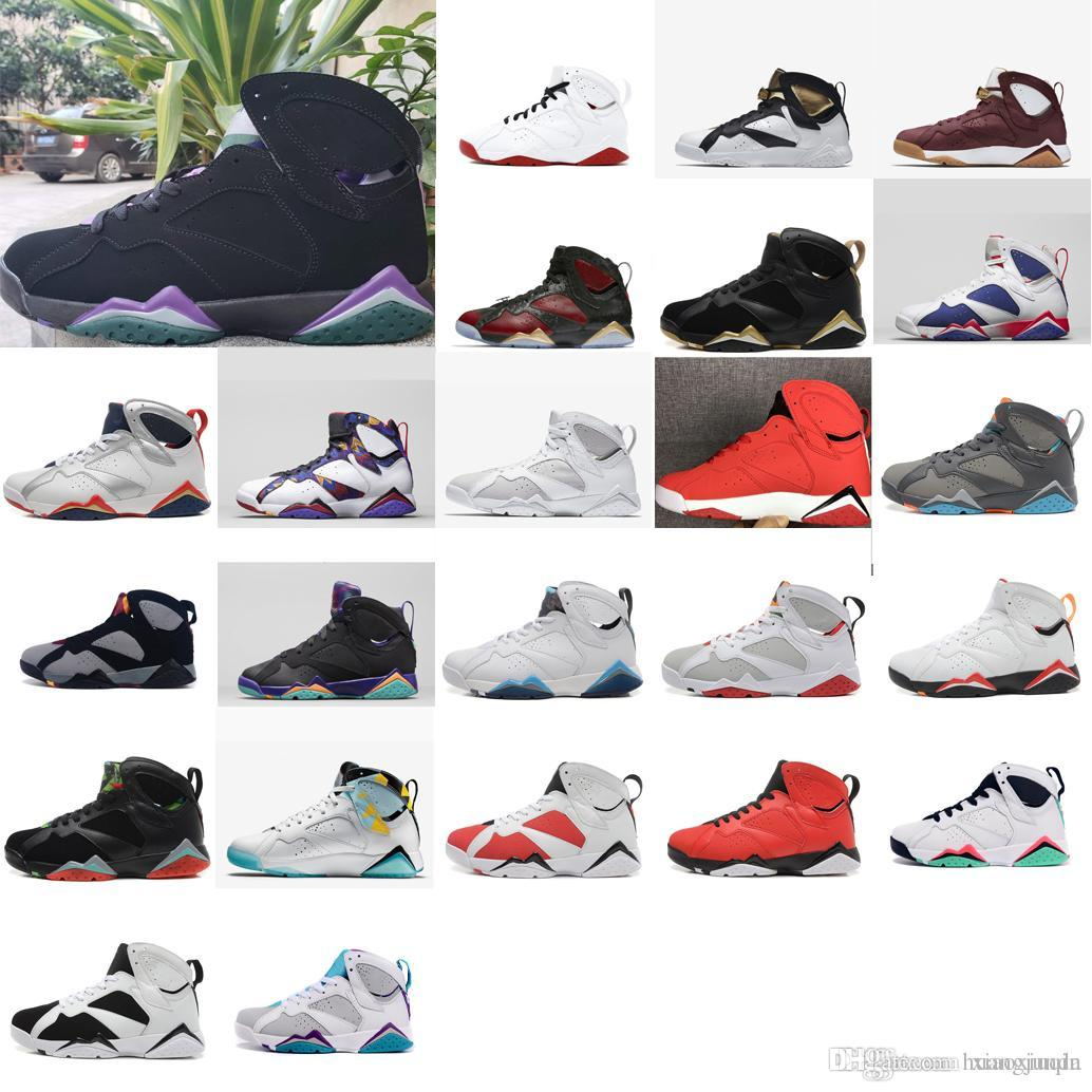best loved f981b 514bc Mens retro 7s basketball shoes j7 Ray Allen Black Purple Green Gold  Olympics sweater Multi air flight jumpman vii sneakers boots with box