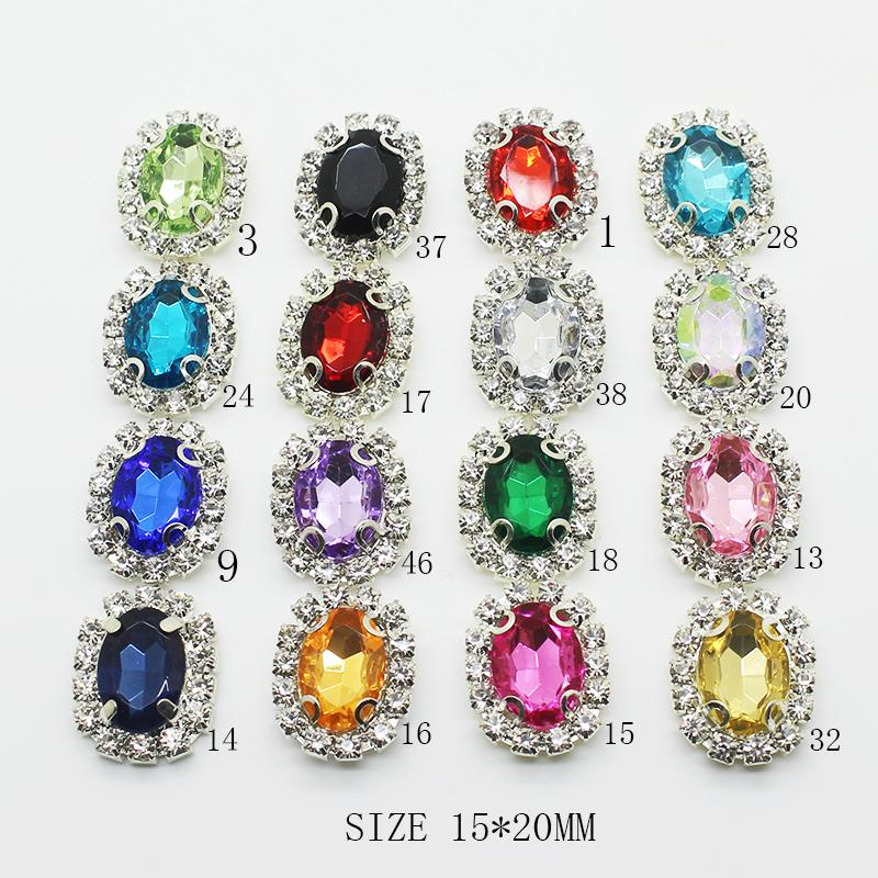 0cccdc6167 ZMASEY New Metal Buttons For Clothing 10pcs/Lot 15*20mm Rectangle Acrylic  Sewing Handwork Buttons Decoration Mix Color