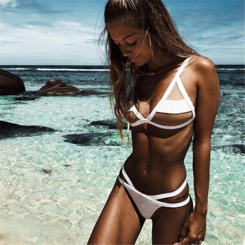 Maikun Brand New Sexy Transparent Yarn Bikini for Women Fashion Beach Split Swimwear Without Bra Pad