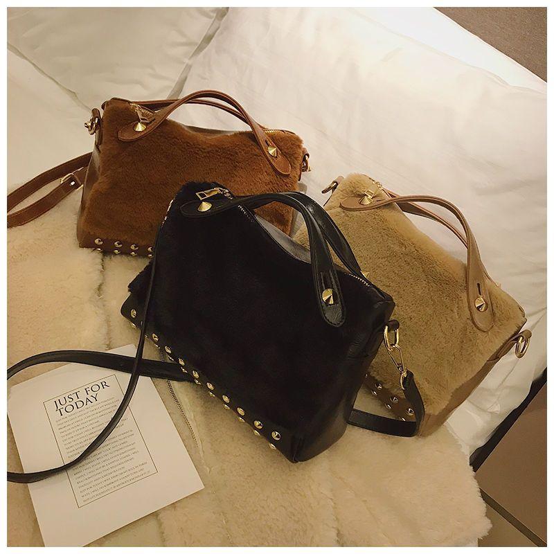 e2e0f67b1da1 MENGXILU Totes Rivet Fashion Handbags Women Faux Fur Shoulder Bag 2019  Shoulder Strap Crossbody Bag Zipper High Capacity Handbag Red Handbags Pink  Handbags ...