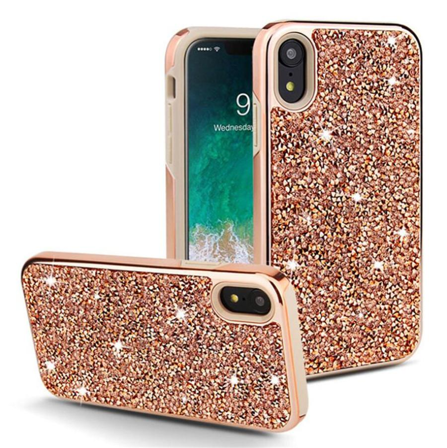 Luxury flash drill TPU phone case FOR:iphone Samsung Galaxy 7 8 x xr xs max s8 s9 s10 note 8 9 plus