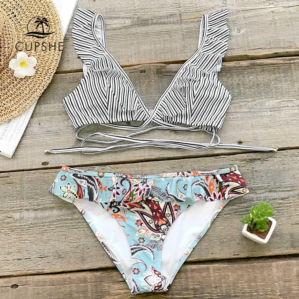 f2f09ef19e 2019 Cupshe Tropical Paradise Ruffle Bikini Sets Women Cute Two ...