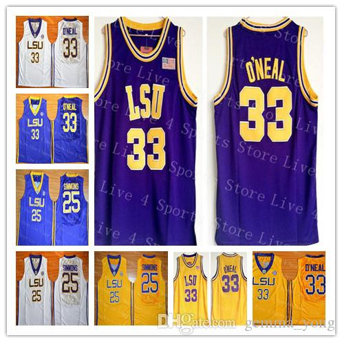 1e6b1ff5329 2019 Cheap Men S 33 Shaquille ONeal O Neal 25 Ben Simmon Jersey Basketball  LSU Tigers College Team Yellow Purple Away White Sports Jerseys Good From  ...