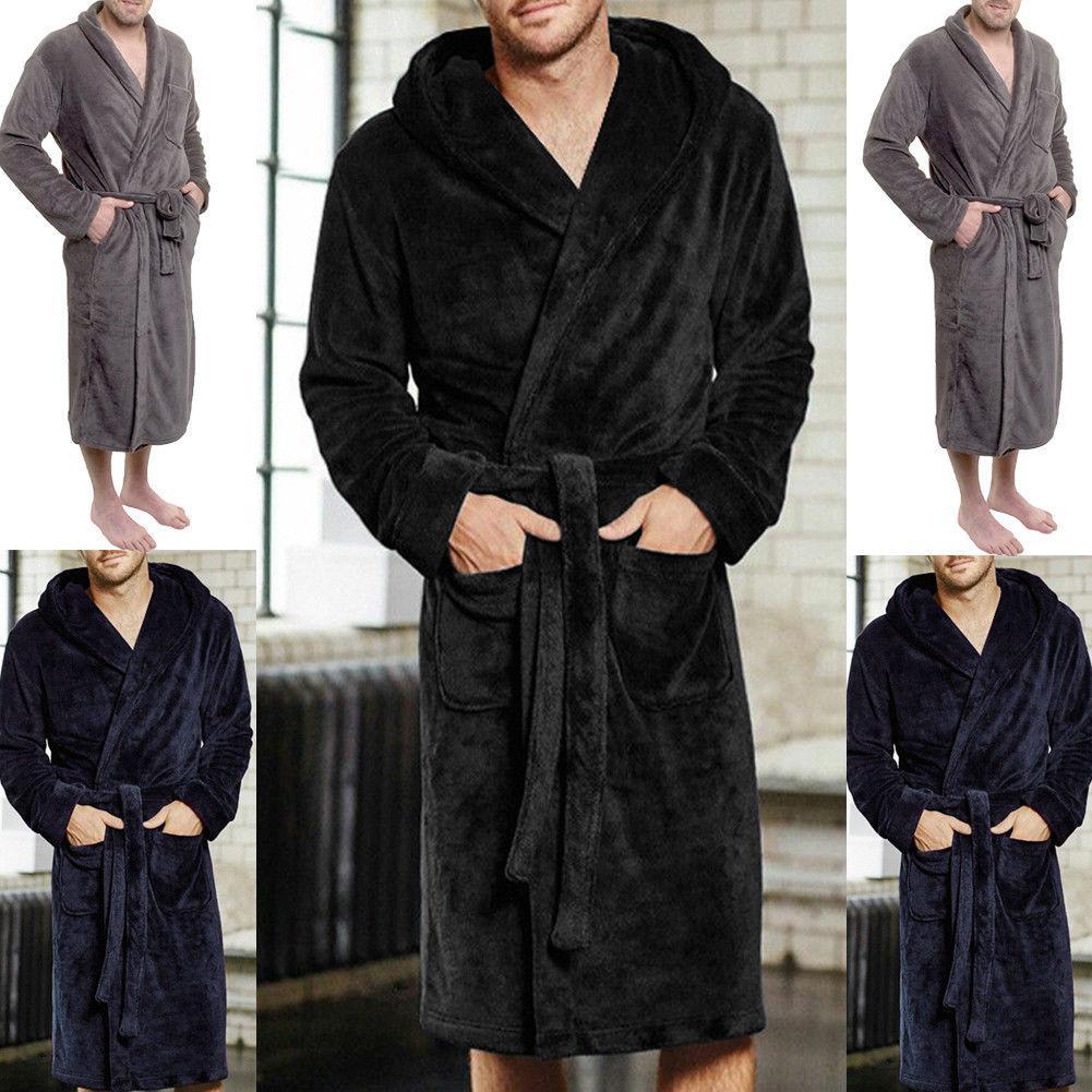 Fashion Casual Mens Bathrobes Flannel Robe V Neck Long Sleeve Couple ... 029338d3a