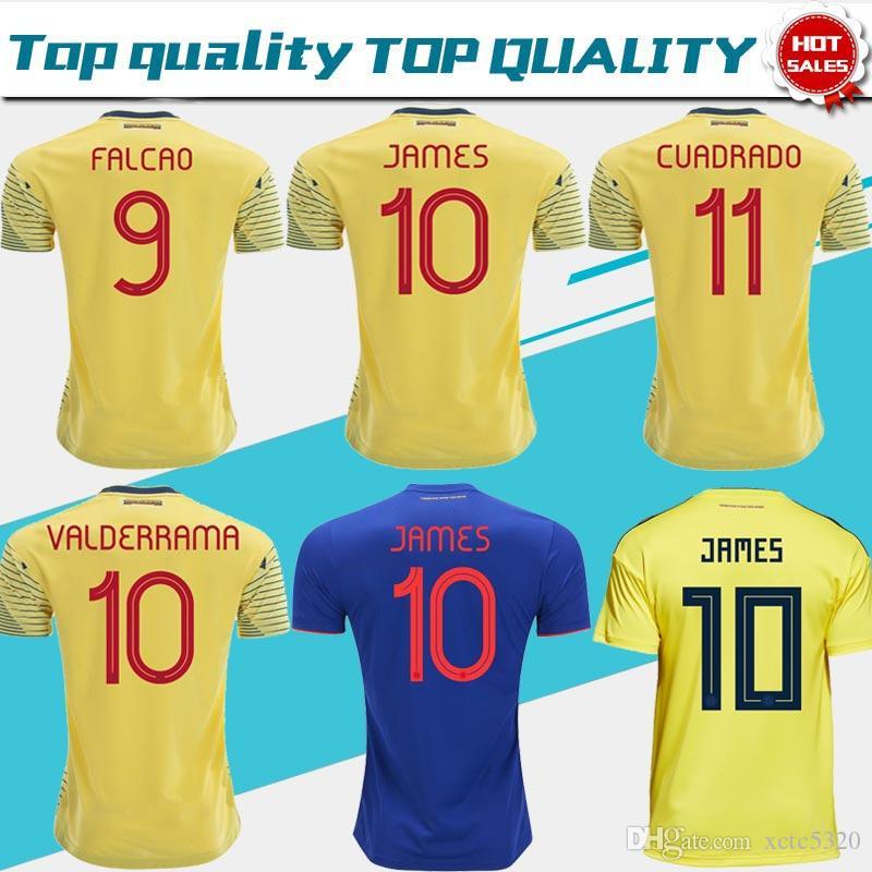 f754cff18ed 2019 Colombia Soccer Camiseta Jersey Colombia Inicio Camiseta Amarilla 2018    10 JAMES   9 FALCAO   11 CUADRADO Uniforme De Fútbol Azul Tailandés Por  ...