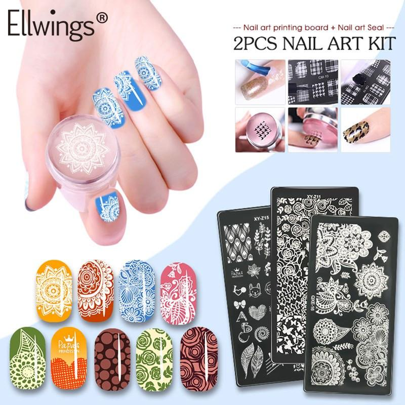 Ellwings Nail Stamper Scraper Silicone Nail Stamping Plates 3D DIY Designs Art Manicure