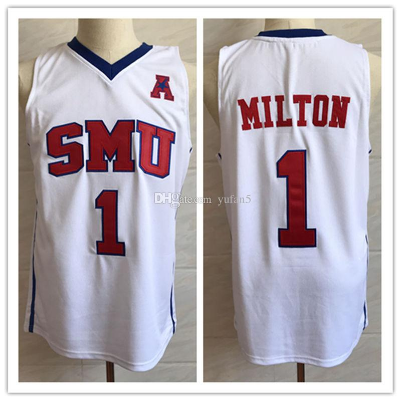 new style e02fa 8954e #1 Shake Milton SMU Mustangs College Retro Classic Basketball Jersey Mens  Stitched Custom Number and name Jerseys