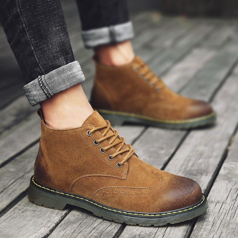 778330513f2 Compre 2019 Botas De Cuero Para Hombre Lazo Clásico De Moda Botas De Martin  Primavera Y Otoño Jeans A Juego Botas Ocio Versión Coreana Zapatos De Hombre  A ...
