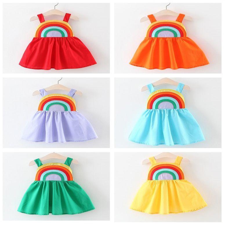 67b9927961f3d Girls Dress New Summer Rainbow Patchwork Suspender Cotton Casual Dress INS  Kids boutique Clothes Children designer Clothing 6 Colors