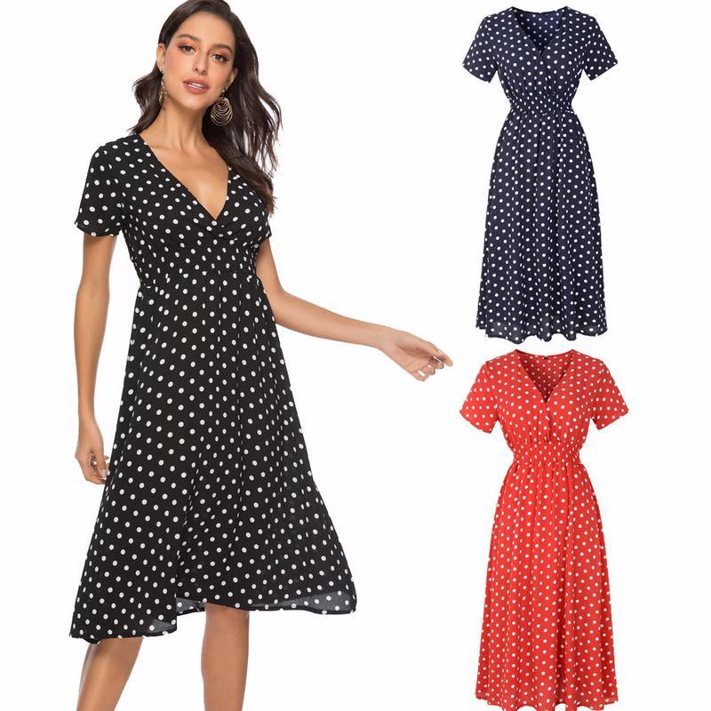 624e6728c4e69 Bohemian Summer V-Neck Wave Point Print Sexy Dress Women Chiffon Short  Sleeve High Waist Beach A-Line Dresses