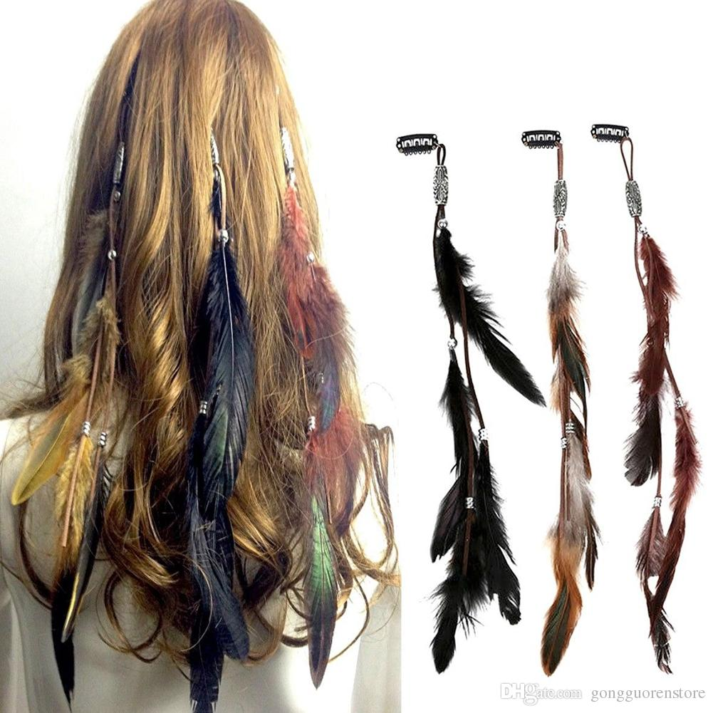 Indian Festival Feather Hippie Headpiece Tassel Hair Comb Clips Boho Head Band Hair Accessories Decors Wholesale