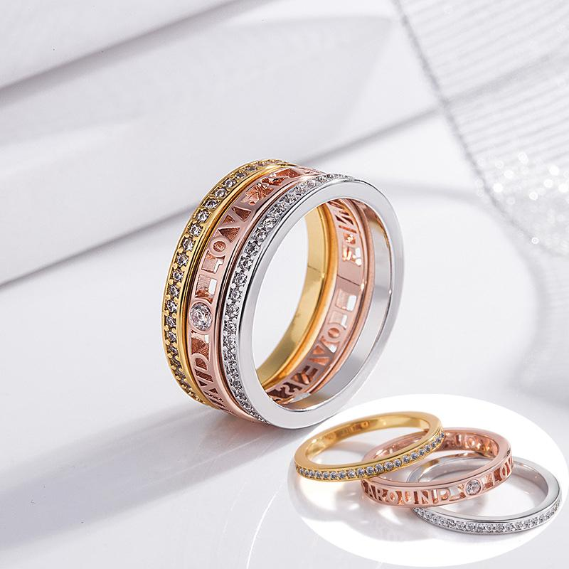 ddf1fcaa28275 3in1 Setting Stack Rings Micropave Crystal Stacking Ring Set Women Yellow  Rose Gold Silver Color Stackable Rings Female Jewelry