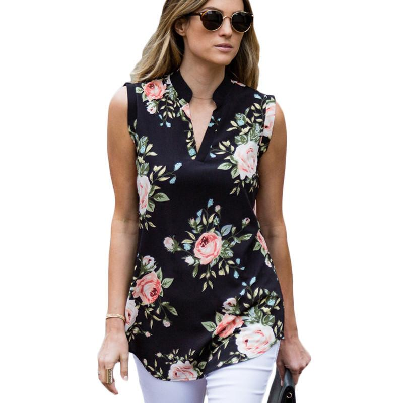 52337bd3 2019 Fashion Vintage Floral Print Blouse Shirt 2019 Summer Sleeveless  Chiffon Blouse Sexy V Neck Women Shirts Casual Loose Chemise From Noah2010,  ...
