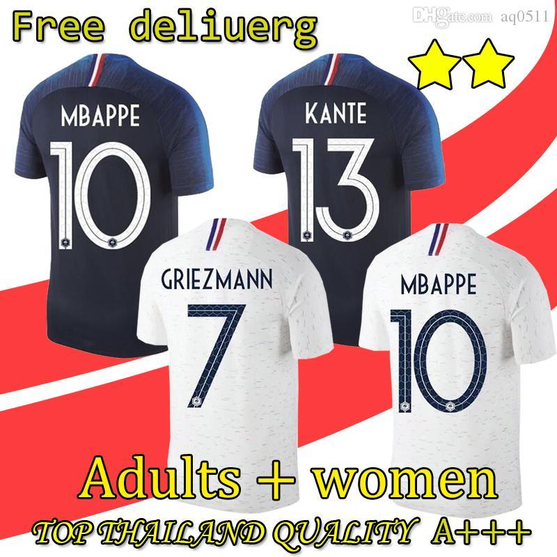 Compre 2 Estrellas Camiseta 2018 De La Copa Del Mundo GRIEZMANN MBAPPE  POGBA Francia Visitante Camiseta De Fútbol Azul Y Blanca Camiseta Estrella  De Fútbol ... fd2c5682f3364