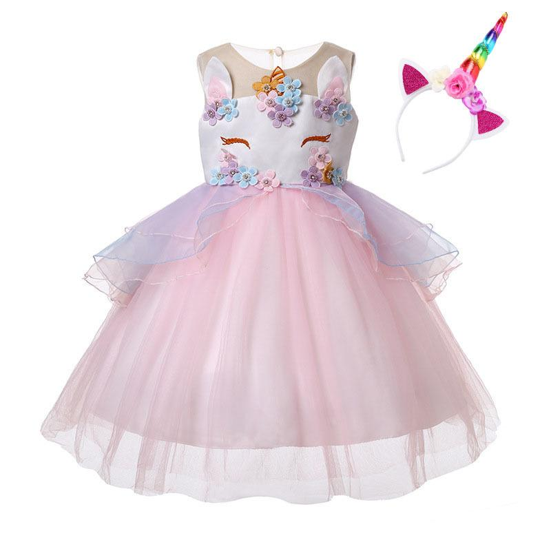 991167c087cd5 Unicorn Dress with Headband Kids Party Dresses for Girls Clothes Baby  Costume Princess Tutu Dress Children Clothing Ball Gown