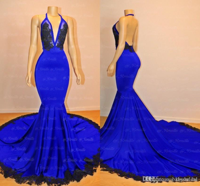 c2762710ff26 Blue And Black Prom Dresses 2019 Sexy Mermaid Deep V Neckline Open Back  Lace Formal Evening Gowns Cocktail Party Ball Dress Celebrity Gown Long  Cheap Prom ...