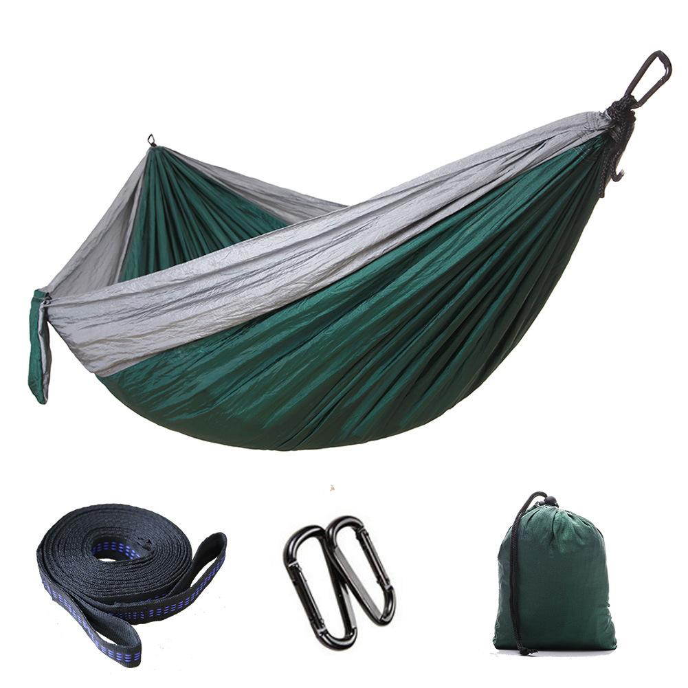 Free DHL Outdoor Parachute Cloth Hammock Foldable Camping Swing Hanging Bed Nylon Hammocks With Ropes Carabiners 8 Colors Wholesale G673F