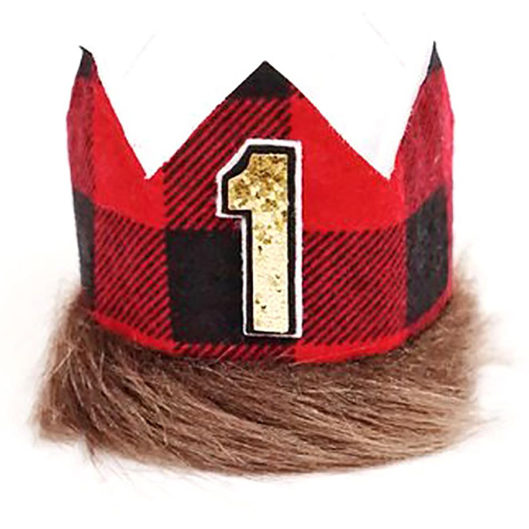 Cute Lumberjack One Year Old Birthday Hat Creative Cloth Lovely Party Crown For 2019 New Arrive Baby Hats Bachelor Supplies From