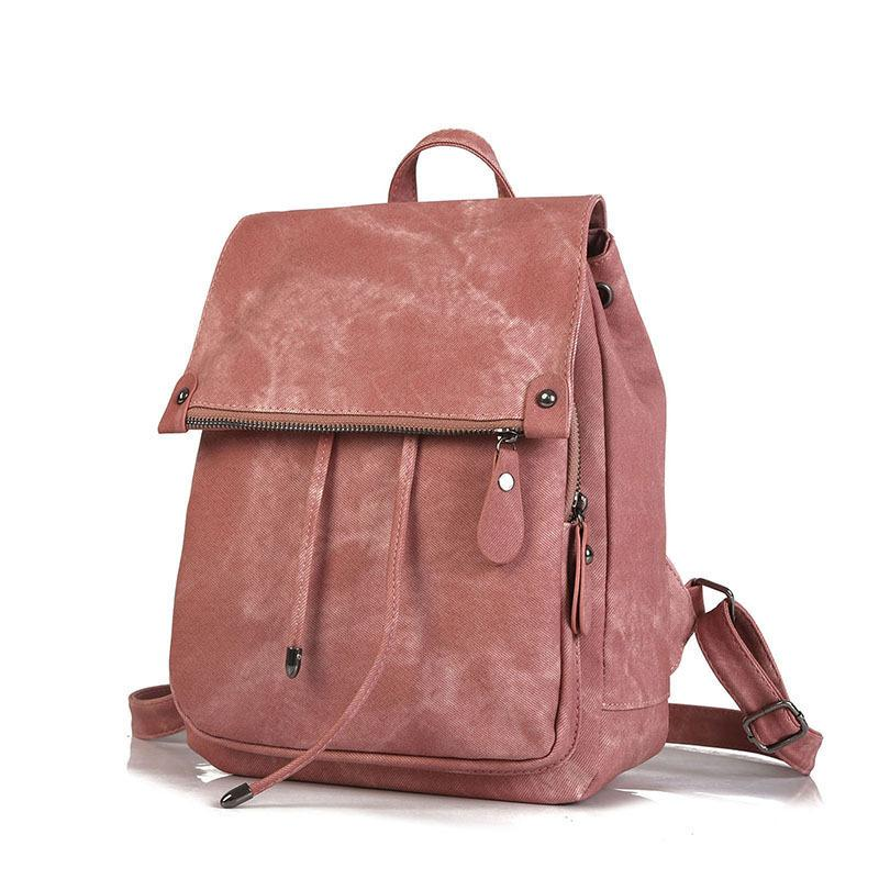 Simple Style Backpack Women Pu Leather Backpacks For Teenage Girls ... c8c786ed1c9f1