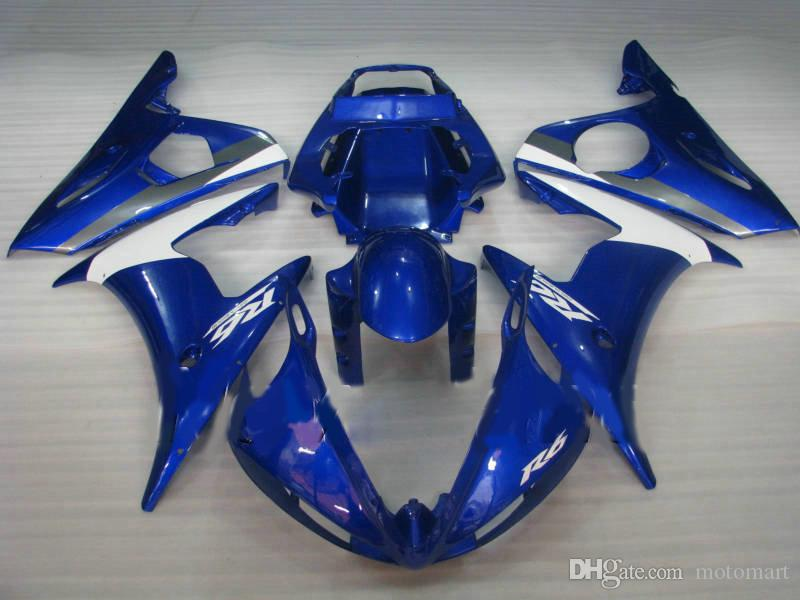 Kit carenatura bianco blu per YAMAHA YZF R6 2004 2005 YZFR6 04 05 YZF-R6 04 05 Set carenature