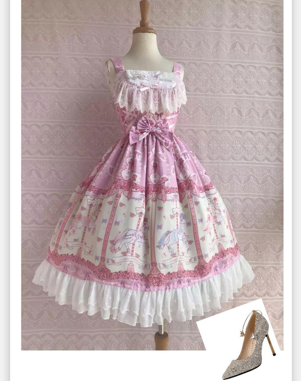 ( Dress+Shoes ) One Piece Style Pink Quality Theme Costume Fashionable  Apparel Designer Women\'s Dress Sweet Lolita Dress Plus Size