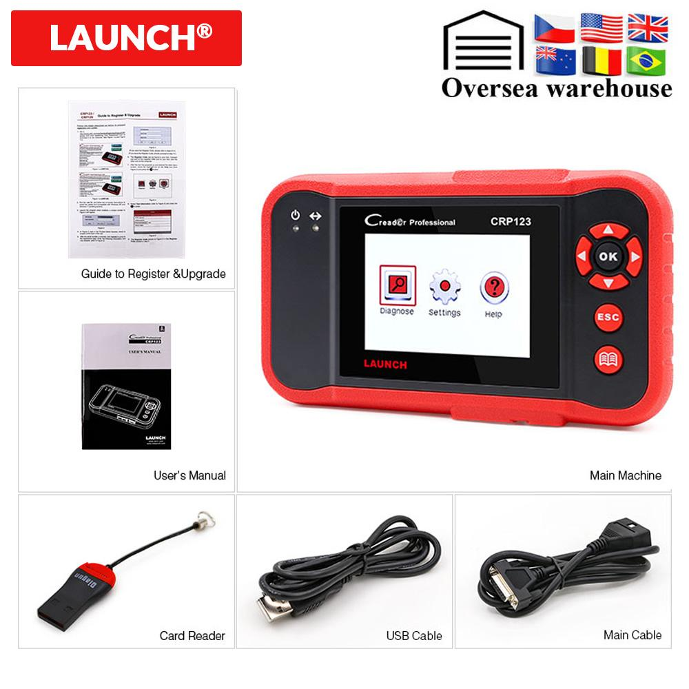 Launch Creader CRP123 OBD2 Scanner Support ABS/SRS/GearBox/Engine System CRP 123 Code Reader PK VII OBD Diagnostic Tool