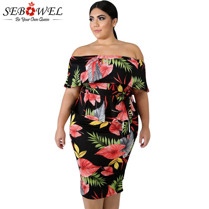 52e6fc0d950 SEBOWEL Tropical Print Plus Size Peplum Dresses Woman Elegant Big Size  Ruffle Off Shoulder Print Pattern Dress For Female XL 5XL Shop For Womens  Dresses ...