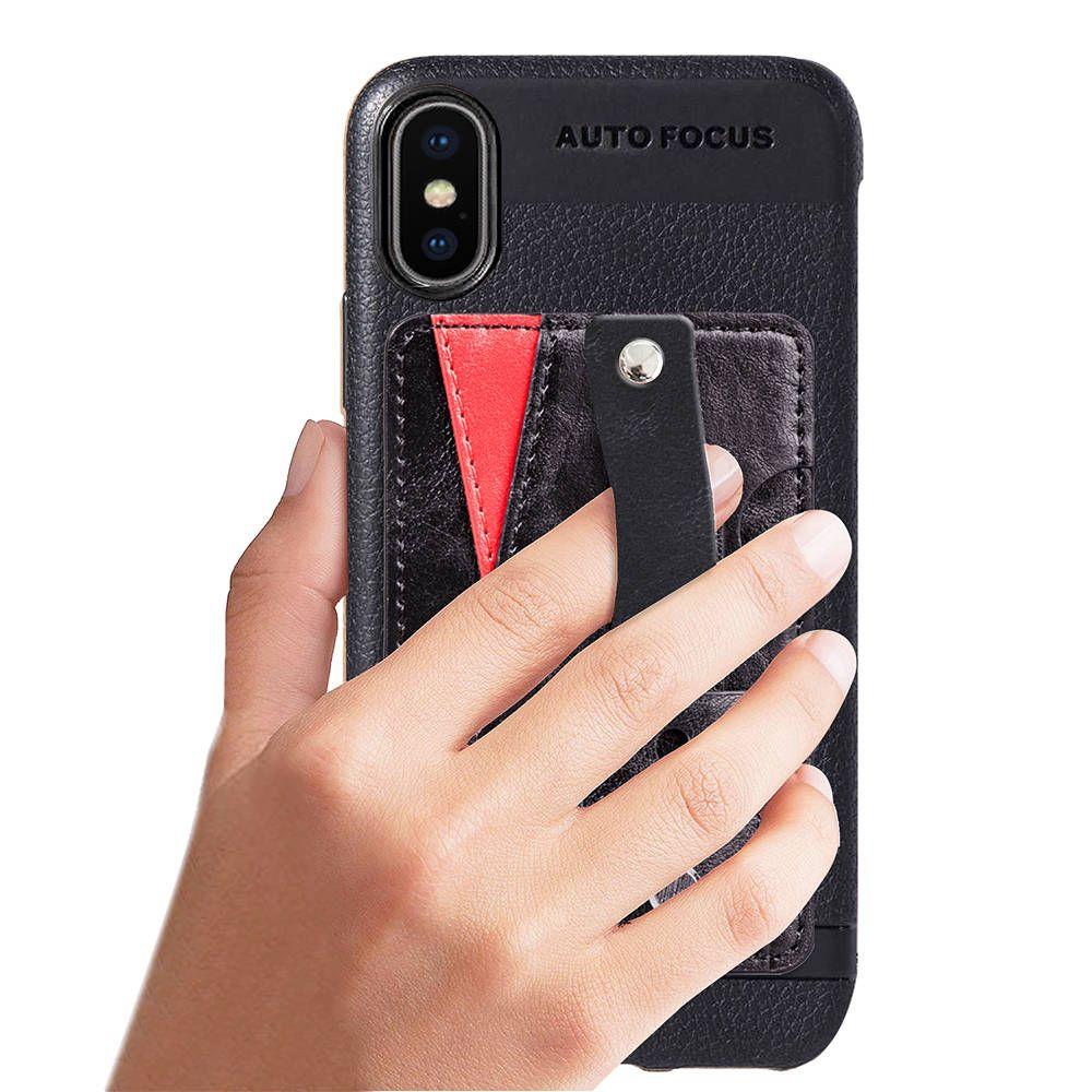 1 Stück Multifunktions Leder Telefon Case Abdeckung Mit Kartensteckplätze Fingerring Ständer Halterung Slip Grip Ring Leder Case Für Iphone Samsung