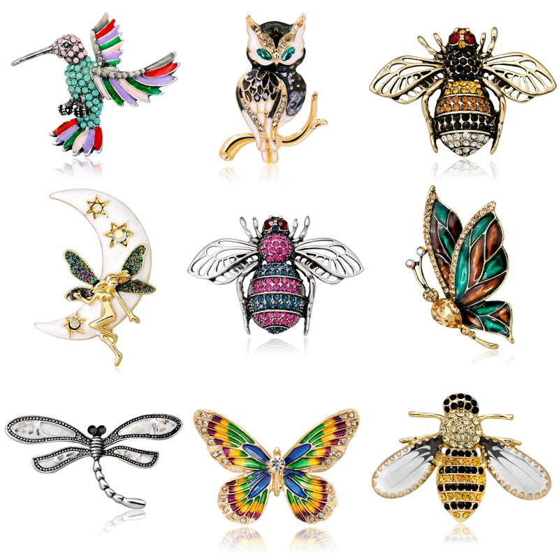 5c777aed720 2019 Crystal Brooch Pins For Women Dragonfly Butterfly Bee Brooches Jewelry  Fashion Wedding Party Bijoux Best Gift From Pingwang2, $182.8 | DHgate.Com