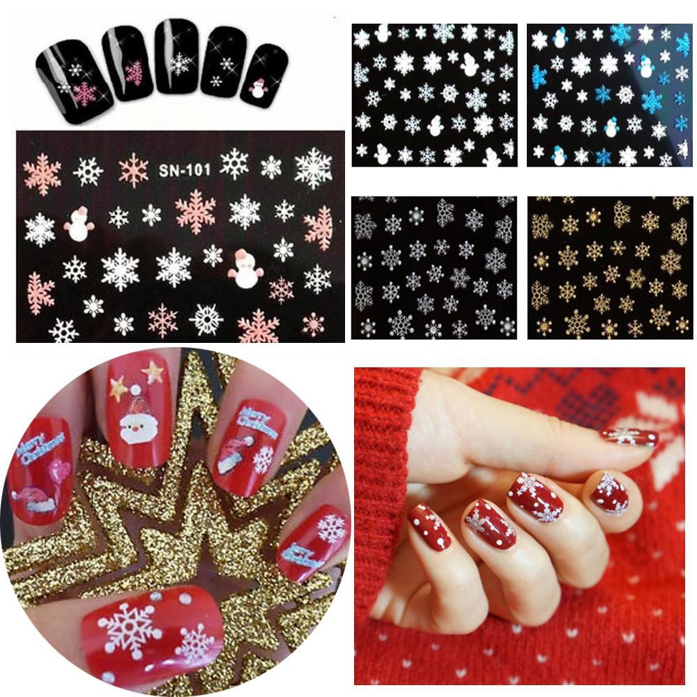 New 3D Nail Art Tips Christmas Snowman Snowflakes Design Nail Decals Girl Xmas Decor Nails Stickers Accessories Art Tool