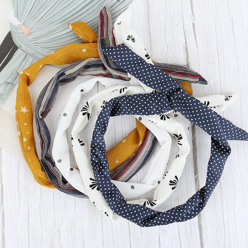Women Girls Iron Wire Printed Cloth Hair Band Rabbit Ear Wrapped Headband DIY Colorful Bow Headband Home Wash Face Hairband DH1391