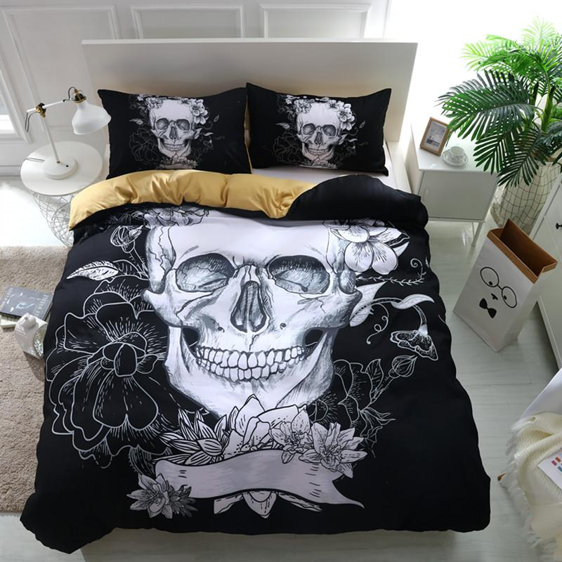 Fanaijia 3D Flowers Skull Bedding sets Plaid Duvet Covers for King Size Bed Europe Style Sugar Skull Bedding Pink Flower bedline