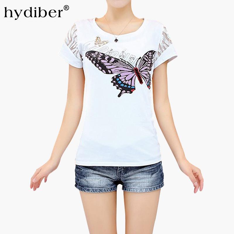 Butterfly Print White T Shirt Women Plus Size Tops 2017 Summer New  Rhinestones Cotton O Neck Short Sleeve Women S T Shirt Femme Tee Shirt A  Day Shop T Shirt ... 87fdbf10b