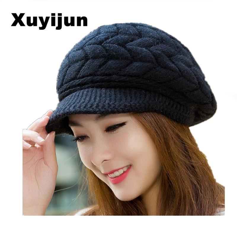 94f89dc21 XUYIJUN Winter Knit Women's Hat Winter Hats For Women Ladies Girls Skullies  Beanies Caps Bonnet Femme Snapback Wool Warm S18120302