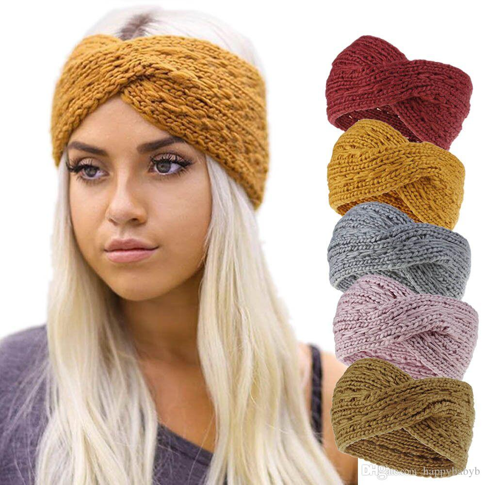 Mujeres Lady Crochet Nudo Diadema Turbante Tejido Head Wrap Hairband Winter Ear Warmer Hair Band Accesorios