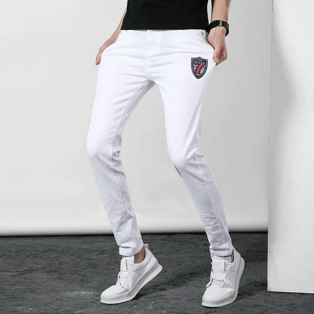 4ee9334a Men's white pants Denim jeans Elastic trousers fashion New product 2019  Wholesale prices Comfortable Cool Leisure 7 pattern badge