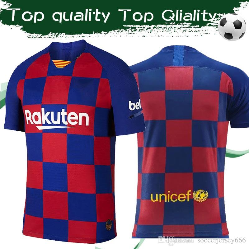Top Quality 2019 # 10 MESSI # 17 GRIEZMANN Home Soccer Jersey 19/20 Football Shirt Sport Jersey Uniformi su misura Taglia S-4XL Drop shipping