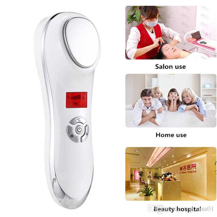 Visage Sonic Vibration Massager Chaud Froid machine marteler utilisation chauffage et le refroidissement de traitement pour Shrink Pore resserrement de la peau anti-rides