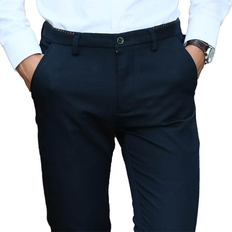 Browon 2019 Autumn Casual Pants Men Full Length Slim Fit Cotton Formal Pants For Men Plus Size Brand Clothing