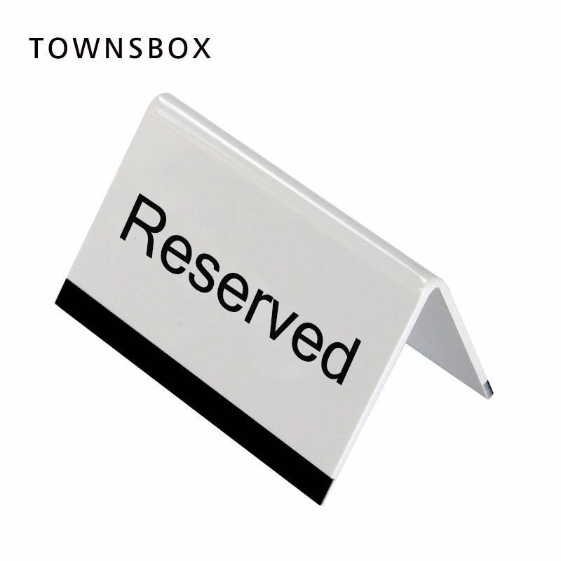 10x6cm Blanc Acrylique Noir Uv Impression Lettre Signe De Bureau Stand Hotel Resturant Table Reservation Panneau De Signalisation De Bureau Plaque