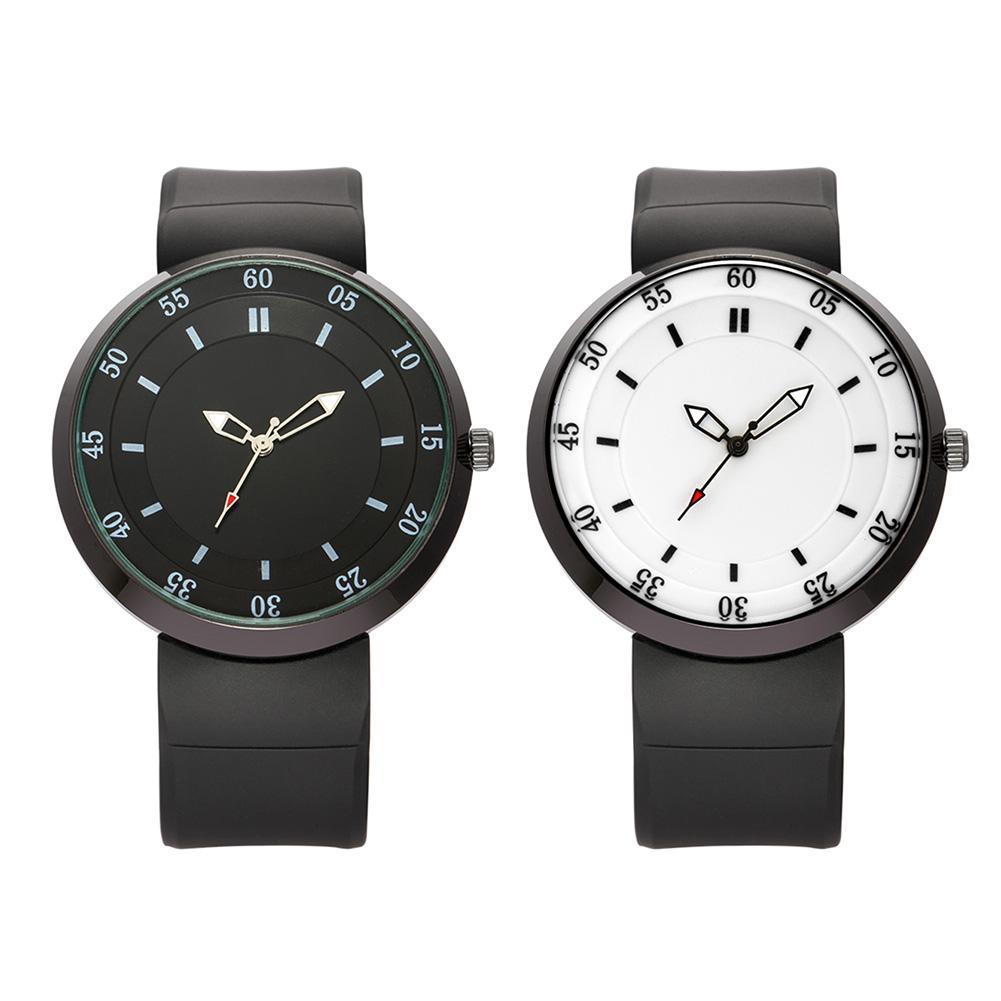 Quartz Watches Simple Fasion Men Watch Novelty Dial Wrist Watch Rubber Band Alloy Case Black White Dial Quartz Sport Watch Ll@17 Watches