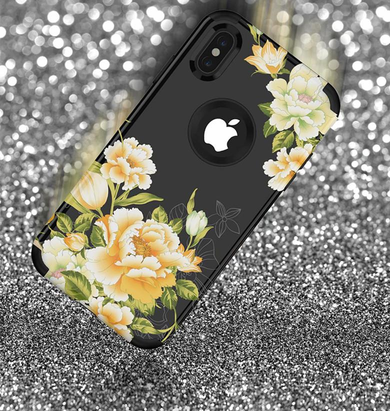 Drop Resistance 3 in 1 Tri-layer Silicone Gel Shell Flower Print Anti-drop Back Case for iPhone 11 Pro X 7 Samsung Note10 S10